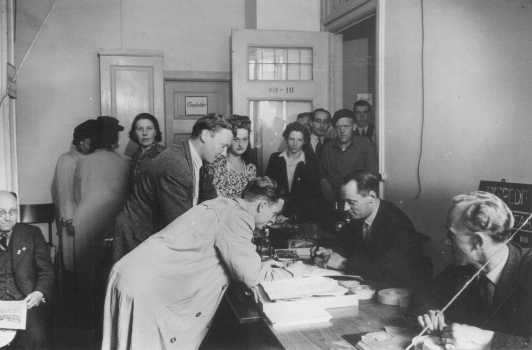 Danish refugees register in Sweden after escaping from Denmark. Sweden, after October 1943