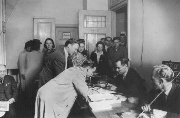 Danish refugees register in Sweden after escaping from Denmark. Sweden, after October 1943